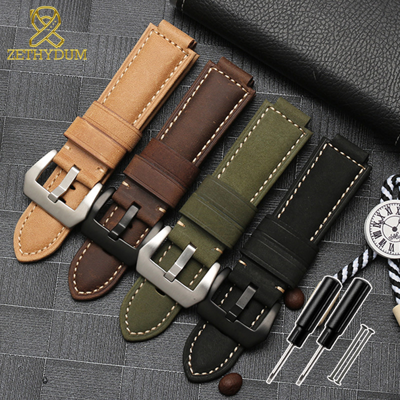 Nubuck Genuine Leather Watch Strap For Timex Watch T2N721 T2N720 739 TW2T6300 Band 24*16mm Watchband With Screw And Tools