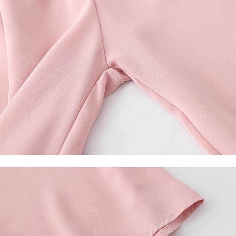 Heliar 2019 夏ボタンフリルトップと弾性ウエストズボンツーピースの衣装女性を設定します。セットトップとズボン