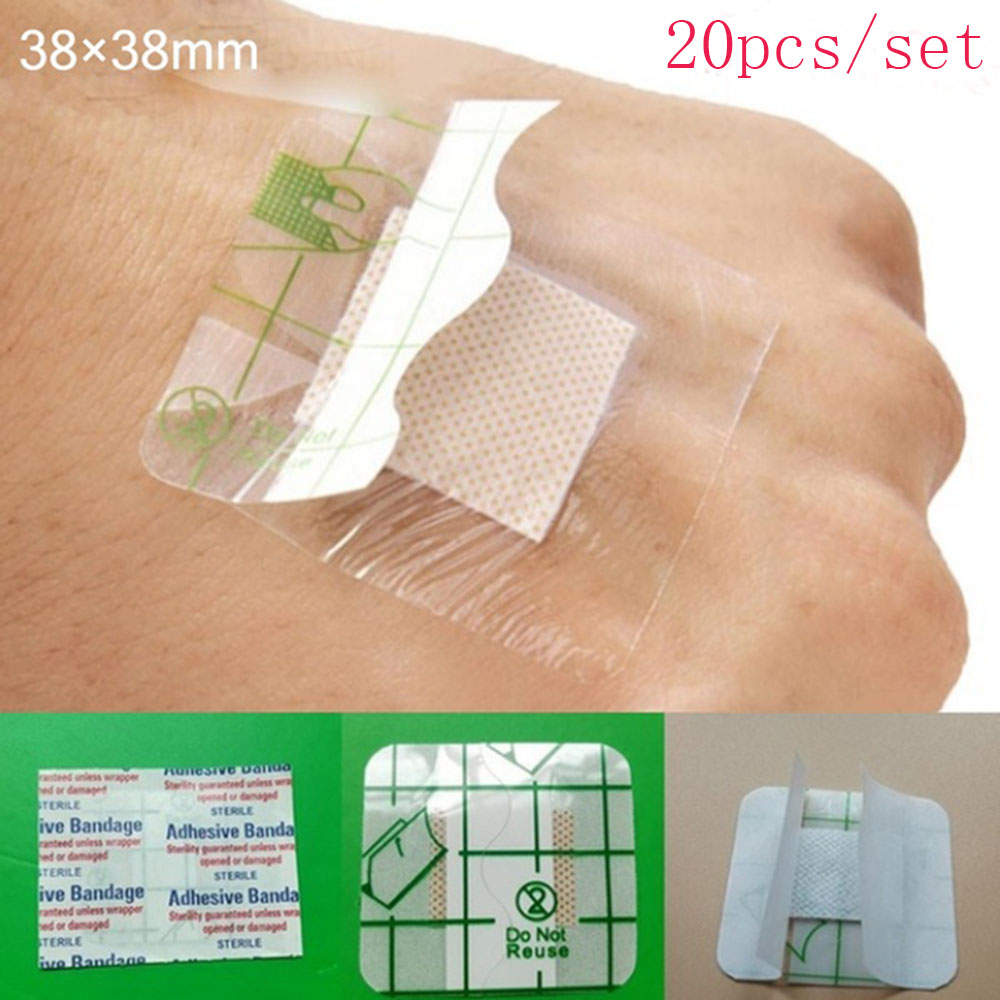 20 Pcs/Set Medical Adhesive Wound Sticker Square Wound Pads Waterproof Body Sticker Health Care One Time Convenience Easy To Use