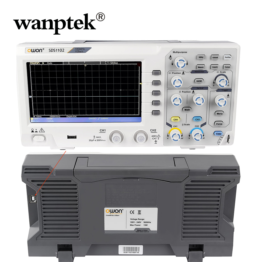 Wanptek Very Professional Digital storage <font><b>oscilloscope</b></font> USB <font><b>100MHz</b></font> 2Channels 1GSa/s 7'' TFT LCD Record Length 40K AC 110-220V image