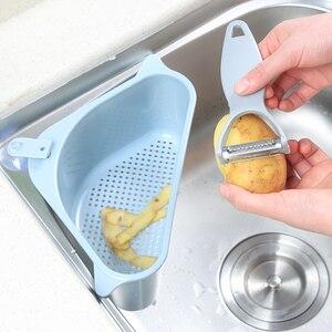 Image 3 - 새로운 2020 흡입 컵 삼각형 싱크 스트레이너 배수 선반 야채/과일/스폰지/도구 주방 삼각형 싱크 필터 싱크 체