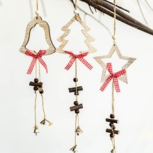 2Pcs Christmas Hanging Wooden Bell Ornaments Card Christmas Tree Decoration Pendants for Kids Gifts