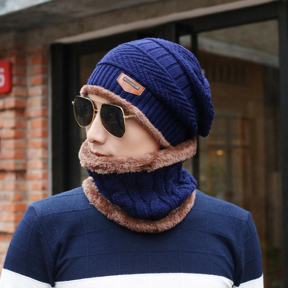 Men Hat Scarf Set Fashion Autumn Winter Knitting Wool Keep Warm Two Piece Multifunction Ski Windproof Elastic Outdoor Soft