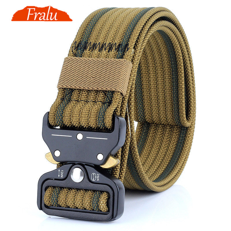 FRALU New Nylon Belt Men Army Tactical Belt Molle Military SWAT Combat Belts Knock Off Emergency Survival Waist Tactical Gear