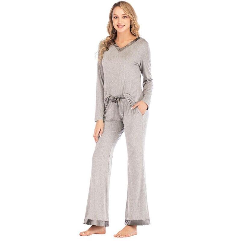 Brand Hot Women's Sleepwear 2019 Autumn Winter Women   Pajamas     Sets   Solid Color Casual Modal Ladies Pyjamas Women Home Wear