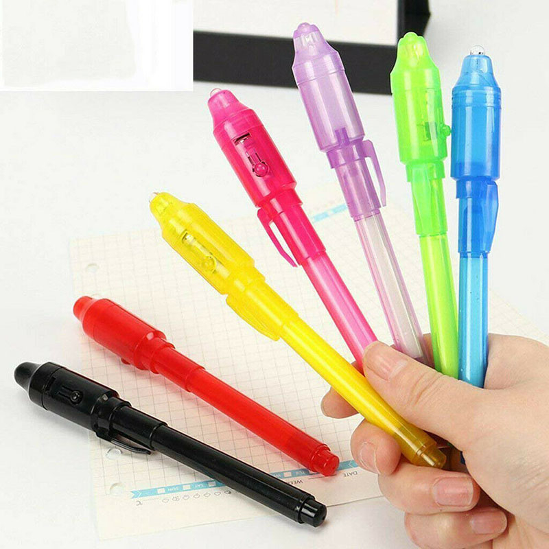 14pcs UV Light Pen Invisible Magic Pencil Secret Fluorescent Pen For Writing Pad Kids Child Drawing Painting Board Toys