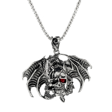 New 3D Pendant Necklace Punk Style Flying Dragon Skull Head Red Crystal Eye Shape Necklace Cool Men's Necklace Gifts for Friends cool flying