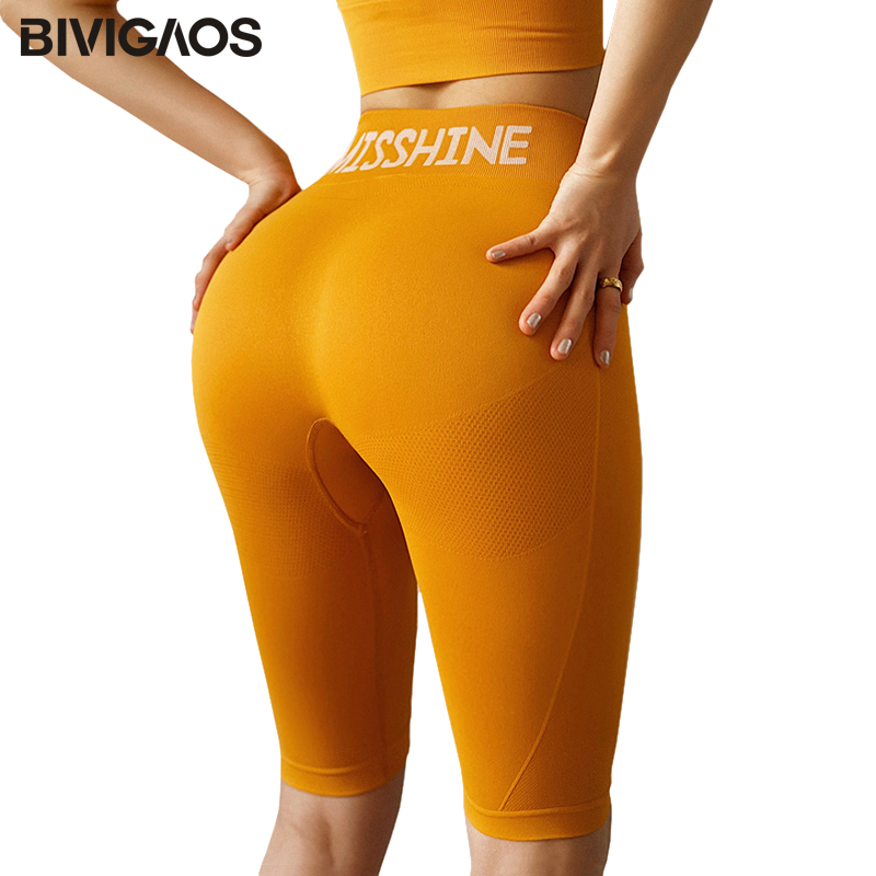 BIVIGAOS New Biker Shorts Women Sport Knee Short Thin Fitness High Waist Shorts Sexy Hip Up Quick-drying Running Shorts Summer