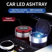 Car-Ashtray Cigarette-Holder-Box Model Tesla Smokeless Led-Light Portable with Flame-Retardant