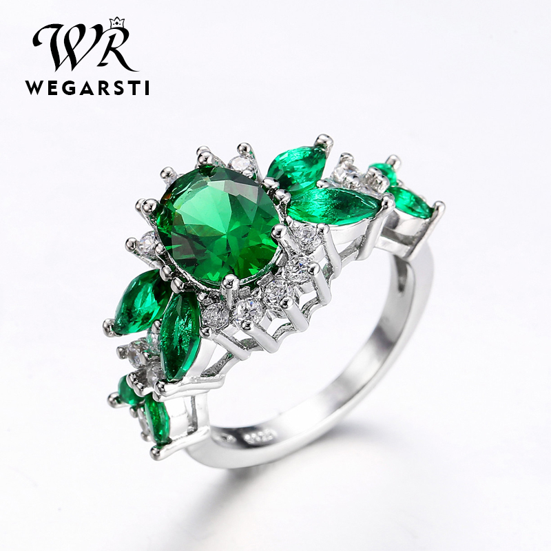 WEGARASTI Silver 925 Jewelry Emerald Ring Green Gemstone Rings For Women Trendy Party 925 Sterling Silver Female Jewelry Ring