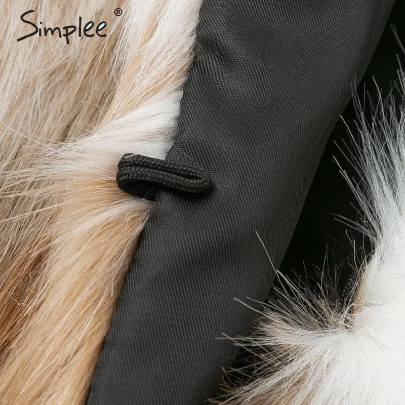 Simplee 2019 New winter fake fur V-neck buttons coats women Elegant fluffy long sleeve jackets Female warm office casual outwear 8