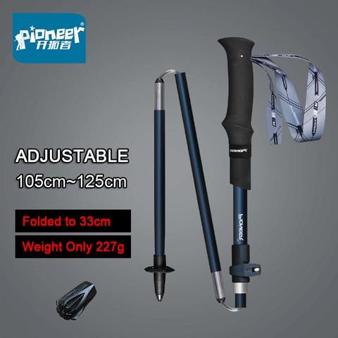 pioneer 5 secao dobravel trekking pole leve portatil caminhadas bengalas de fibra de carbono liga