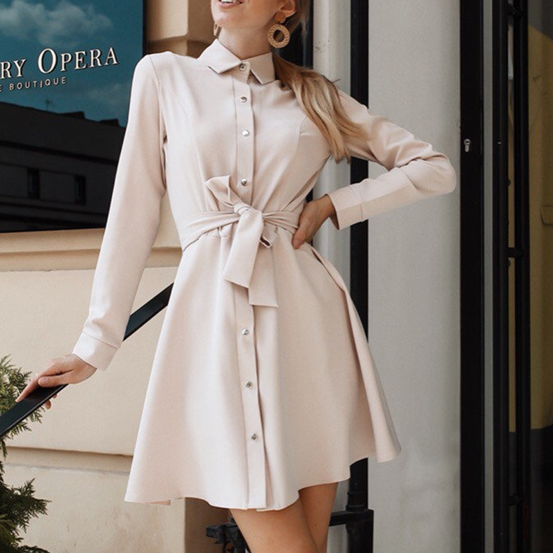 Women Vintage Front Button Sashes A-line Party Dress Long Sleeve Turn Down Collar Solid Elegant Dress 2019 Autumn Fashion Dress