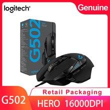 Logitech G502 גיבור מקצועי משחקי עכבר 16000DPI משחקי תכנות עכבר מתכוונן אור Synchronizatio עבור עכבר גיימר