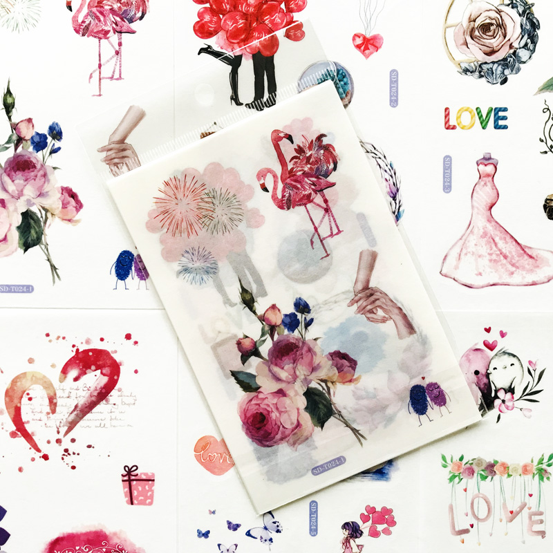6 Sheets/Pack Romantic Love Series Sticker Adhesive Craft Stick Label Notebook Computer Phone DIY Decor Kids Gift Stationery