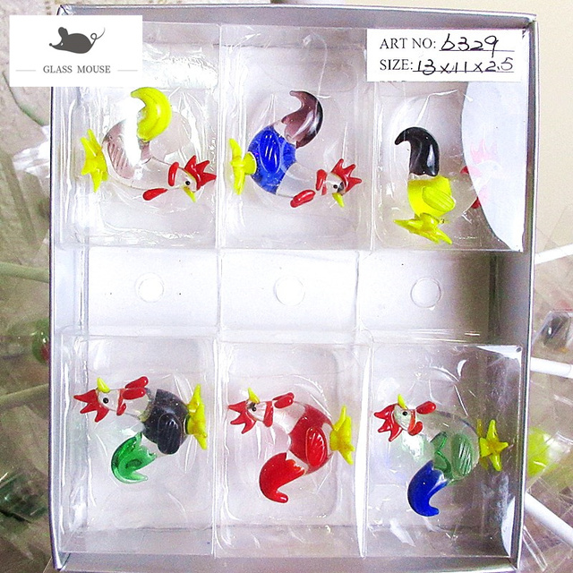 6pcs Decorative Figurines Miniature glass chicken ornaments murano Style Home garden decor lovely handmade glass Animals statues 6