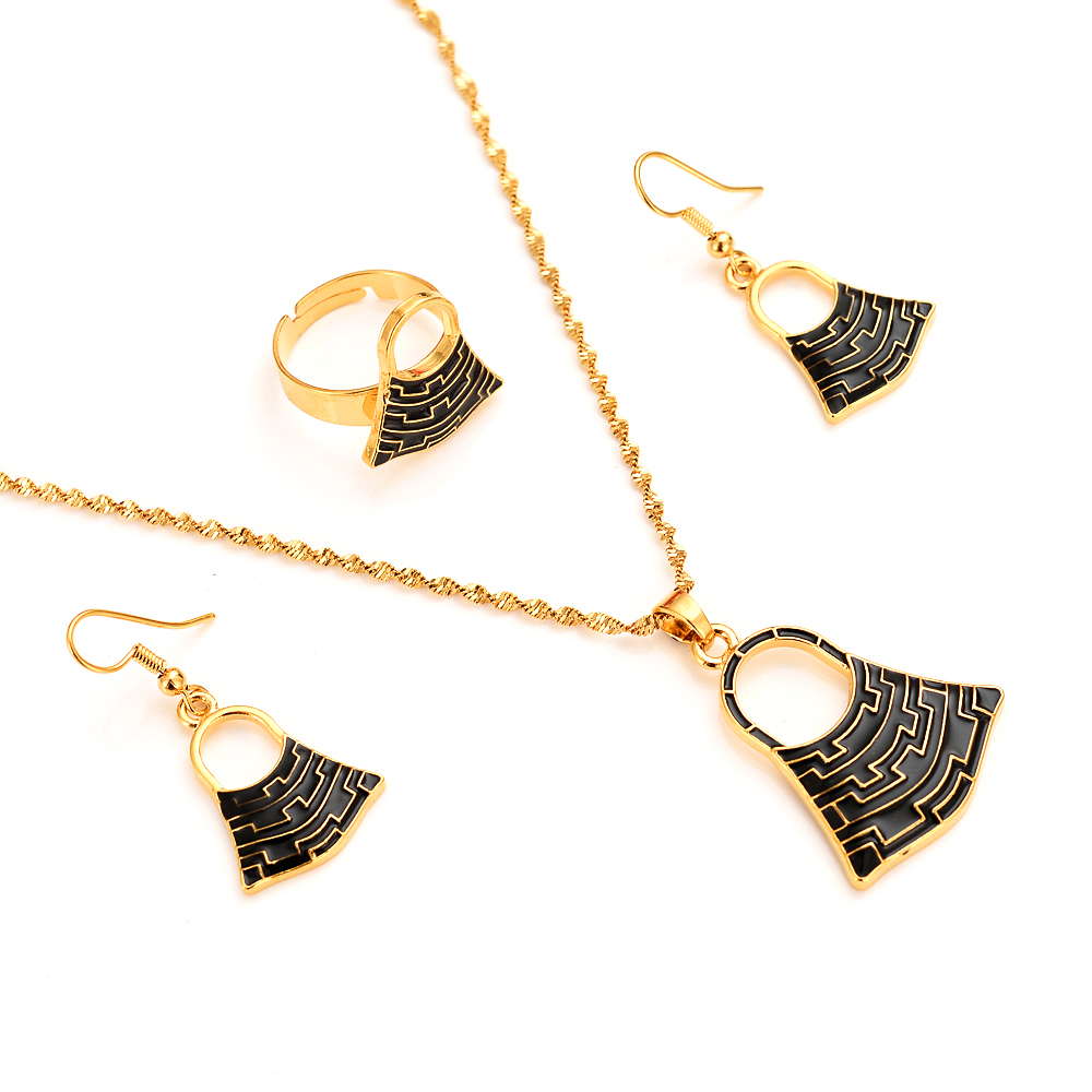 handmade BLUM BAG  Pendan Necklaces Earrings  Gold Color PNG Jewellery Set Papua New Guinea Wedding party women girls gifts