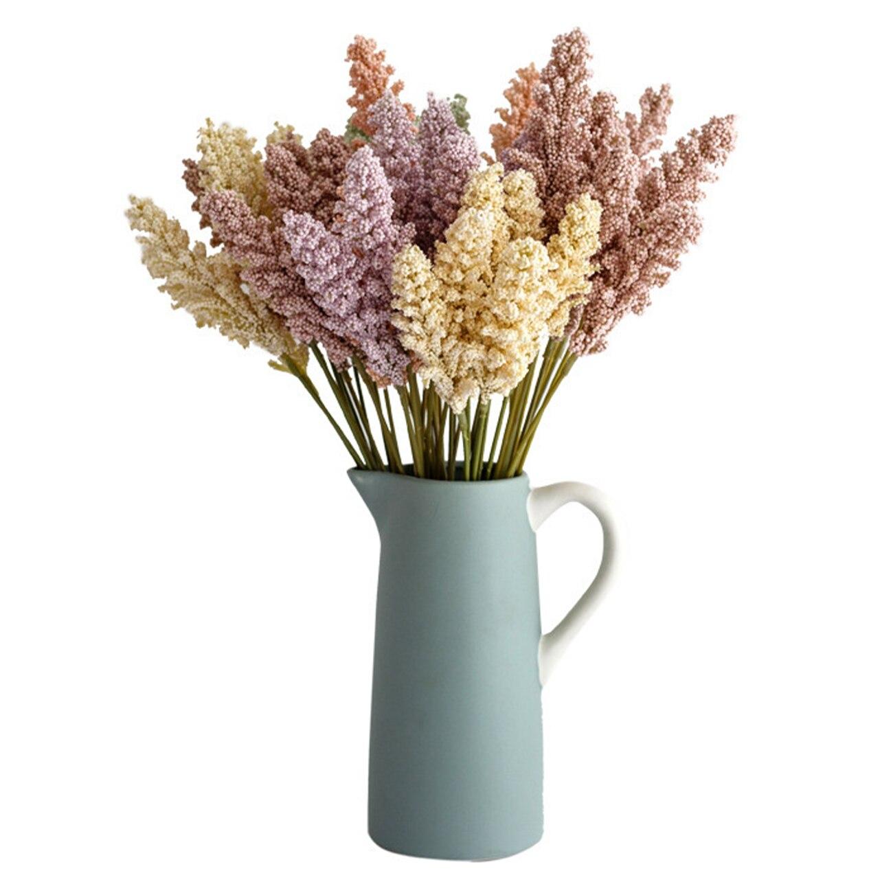 6 шт искусственная пшеницы уши из жесткого пластика с изображением засушенные цветы зерна букет для Свадебная вечеринка украшения DIY пшениц...
