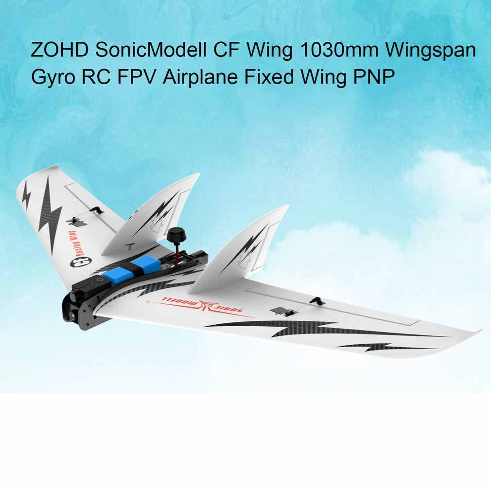 Untuk Zohd Sonicmodell CF Wing1030mm Lebar Sayap RC FPV Pesawat Tetap Glider Drone Model Pesawat dengan Gyro 180 + Km/ H Kecepatan Tinggi PNP