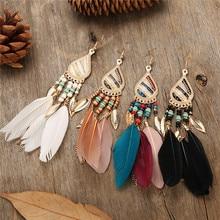 Colorful Feather Vintage Bohemian Fringed water drops earrings temperament wild earrings fairy earrings Boho Indian Jewelry