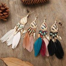 Pendientes de plumas coloridas Estilo Vintage Bohemio con flecos gotas de agua, pendientes de temperamento salvaje, pendientes de hadas, joyería India Bohemia