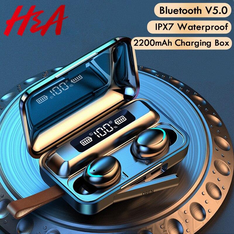 H & Bluetooth V5.0 אוזניות אלחוטי אוזניות עם מיקרופון ספורט עמיד למים אוזניות 2200mAh טעינת תיבת עבור אנדרואיד