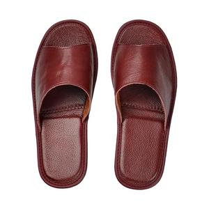 Image 4 - Genuine Cow Leather slippers couple indoor non slip men women home fashion casual single shoes TPR soft soles spring summer