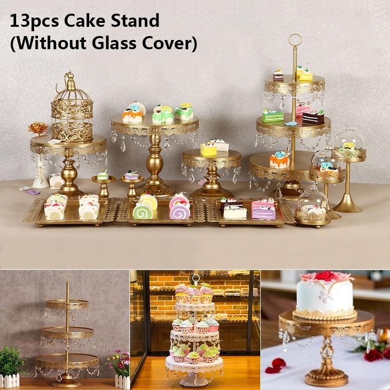 13 pièces/ensemble or blanc gâteau support ensemble rond en métal Cupcake Dessert affichage piédestal mariage présentoir gâteau décoration outil - 3