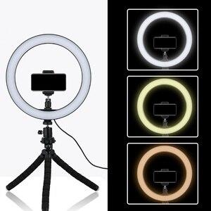 Image 2 - 6/8/10 אינץ LED Selfie טבעת אור צילום Selfie טבעת תאורה איפור וידאו חי עם חצובה Stand סטודיו טבעת מנורה
