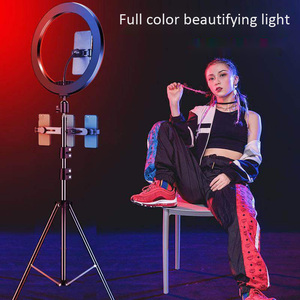 Image 3 - 33cm RGB Ring Light with Phone Clip Dimmable Selfie Light Portable Makeup Lamp LED Desk Fill Light for Smartphone