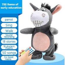 Robô eletrônico burro controle remoto crianças brinquedo de pelúcia controle remoto elétrico pode falar/andar/cantar brinquedos eletrônicos presentes do bebê