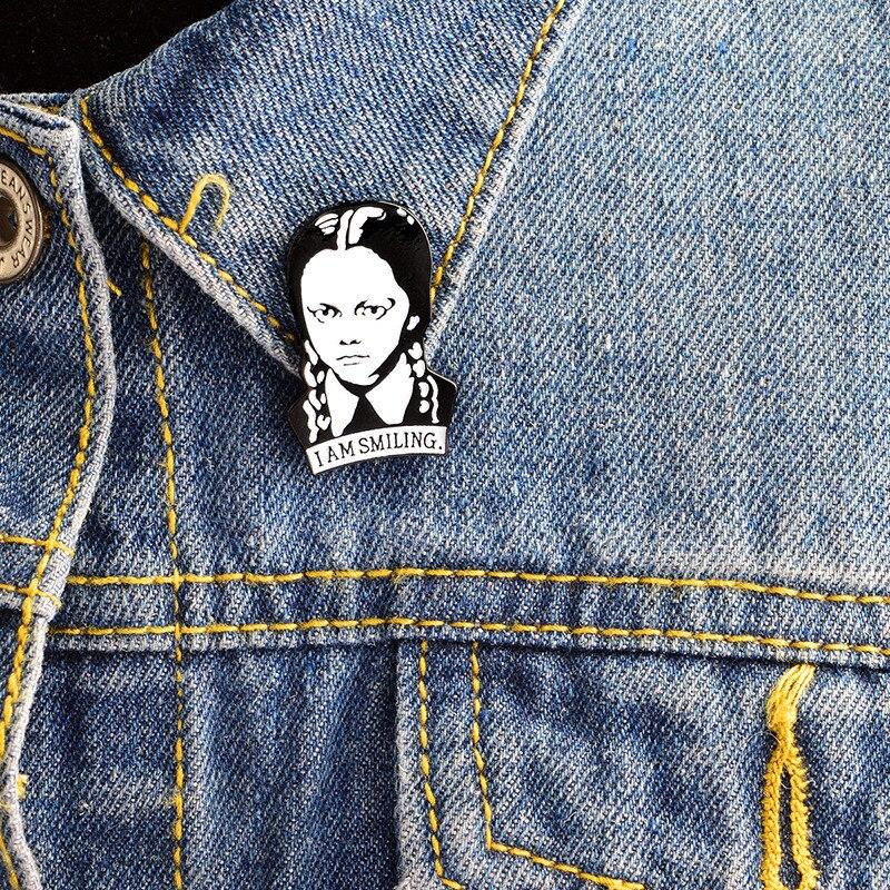 Punk Fun Adams family brooch I am Smiling Wednesday Enamel pin Hard Lapel pins figure Girl broche jewelry Accessories