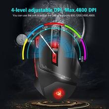 Беспроводная игровая мышь hxsj t88 7 кнопок цветов светильник