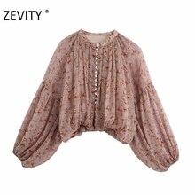 Zevity Women o neck cashew nut print casual chiffon smock blouse ladies pleats lantern sleeve shirt femininas blusas tops LS7213