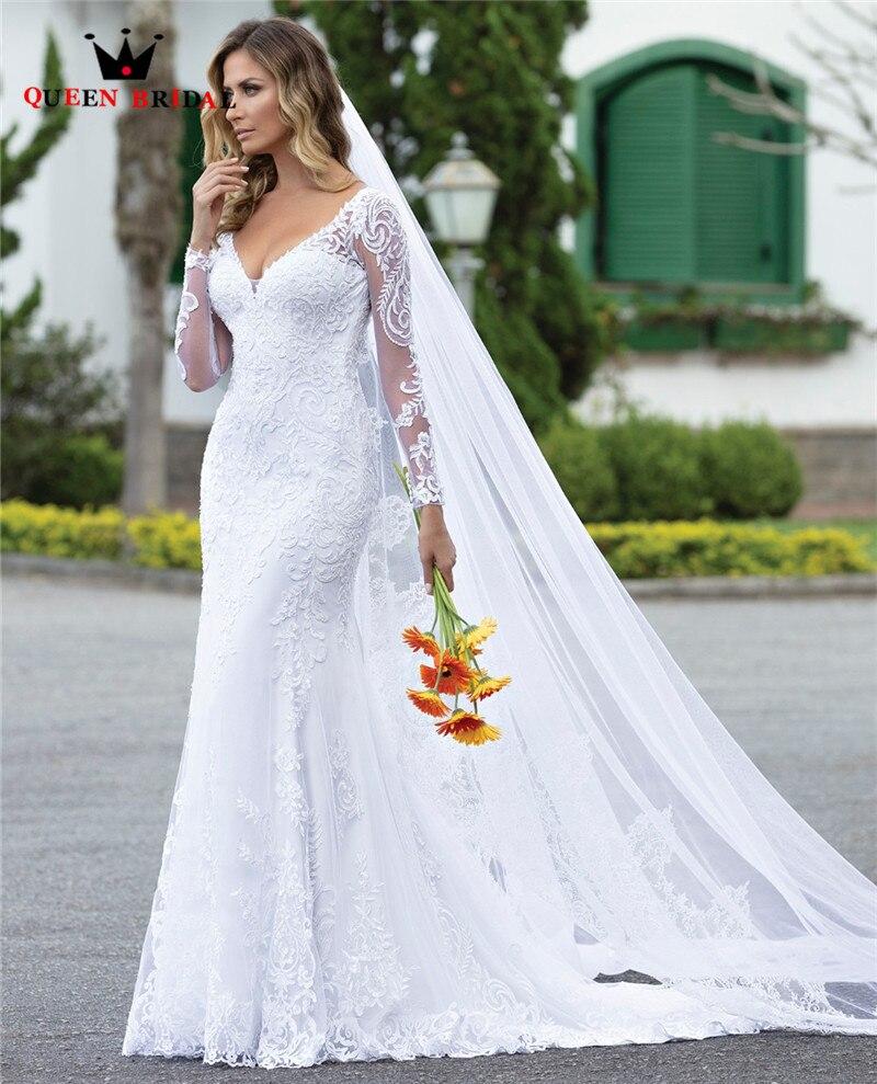 Sur mesure 2020 nouveau Design robes de mariée sirène col en v à manches longues Tulle dentelle perles élégant Sexy robes de mariée CO21