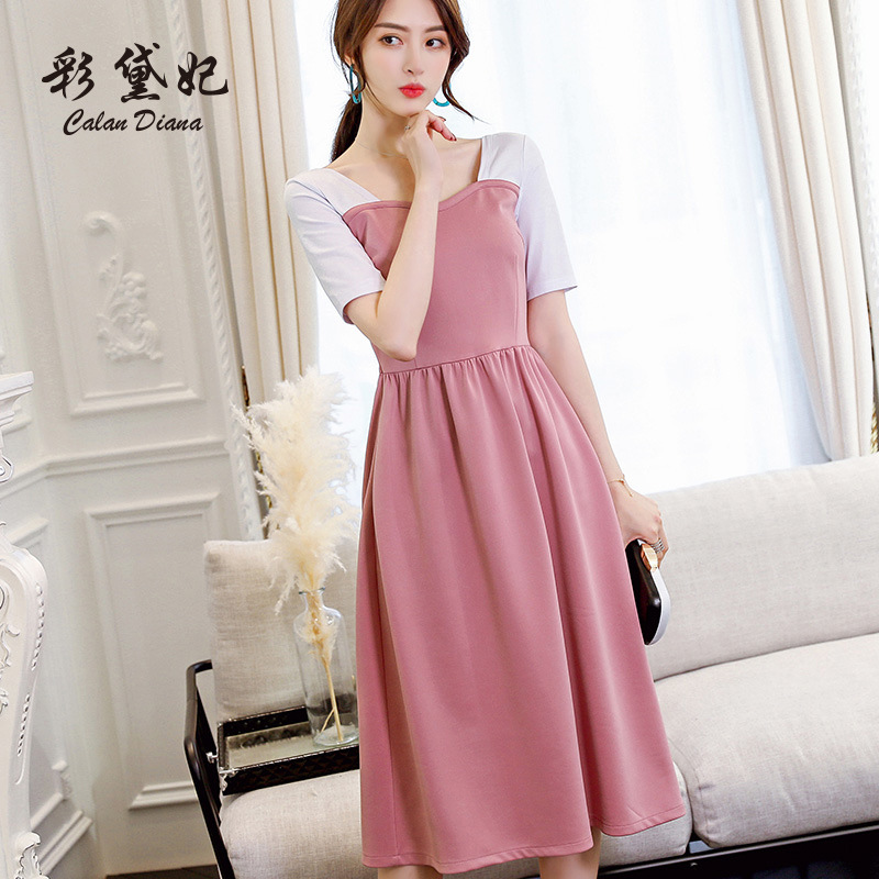 2018 Spring And Summer Korean-style WOMEN'S Wear New Style Fashion Short Sleeve Trend Casual Slim Fit Large Size Versatile Dress