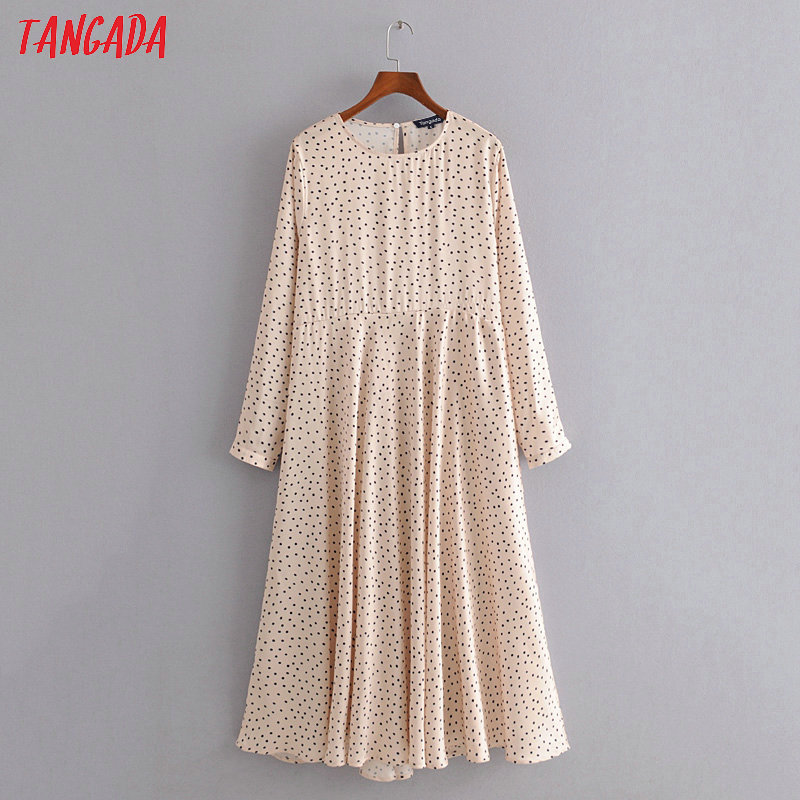 Tangada Fashion Women Dots Print Beige Pleated Midi Dress Long Sleeve Ladies Vintage Office Lady Dress Vestidos 3H292