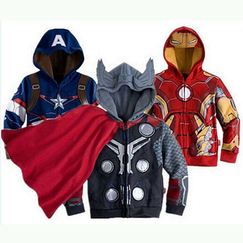 New Boys Hoodies Sweatshirts Avengers Marvel Superhero Iron Man Thor Hulk Captain America Spiderman  Jacket Kids Zipper Coats