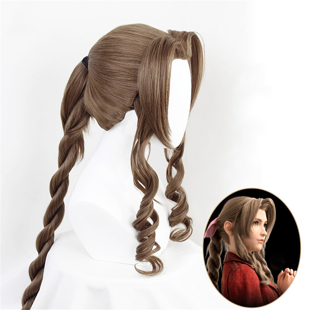 Game Final Fantasy VII Aerith Gainsborough Cosplay Wig Girl Hairpiece 100 Cm Pigtail Women Wavy Curly Bangs Hair Periwig + Cap