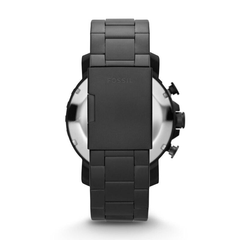 Fossil Männer Uhr Nate Chronograph Schwarz Edelstahl Uhr Schwarz Zifferblatt Quarz Metall Beiläufige Uhr JR1401 - 2