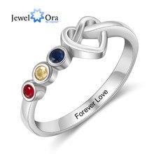 Jewelora Gepersonaliseerde Graveren Hart Knoop Ringen Voor Vrouwen Maat 2-4 Geboortestenen Vinger Ring Kerst Cadeaus Voor Moeder