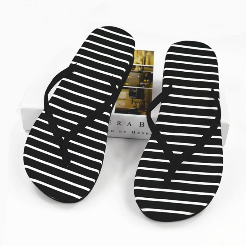 Womens Flip Flops High Quality Beach Sandals  Black White Spot Stripes Casual Flat-heeled Sandals 2019 Fashion Women Slippers