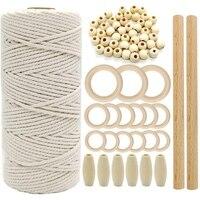Cuerda de macramé de algodón Natural m con anillo de madera bastón de madera para DIY mordedor macramé Kit colgador de planta colgante de pared