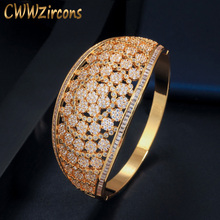 CWWZircons Glitter Indian Gold Color Micro Pave Cubic Zirconia Fancy Flower Large Wide Statement Bridal Wedding Bangles BG037