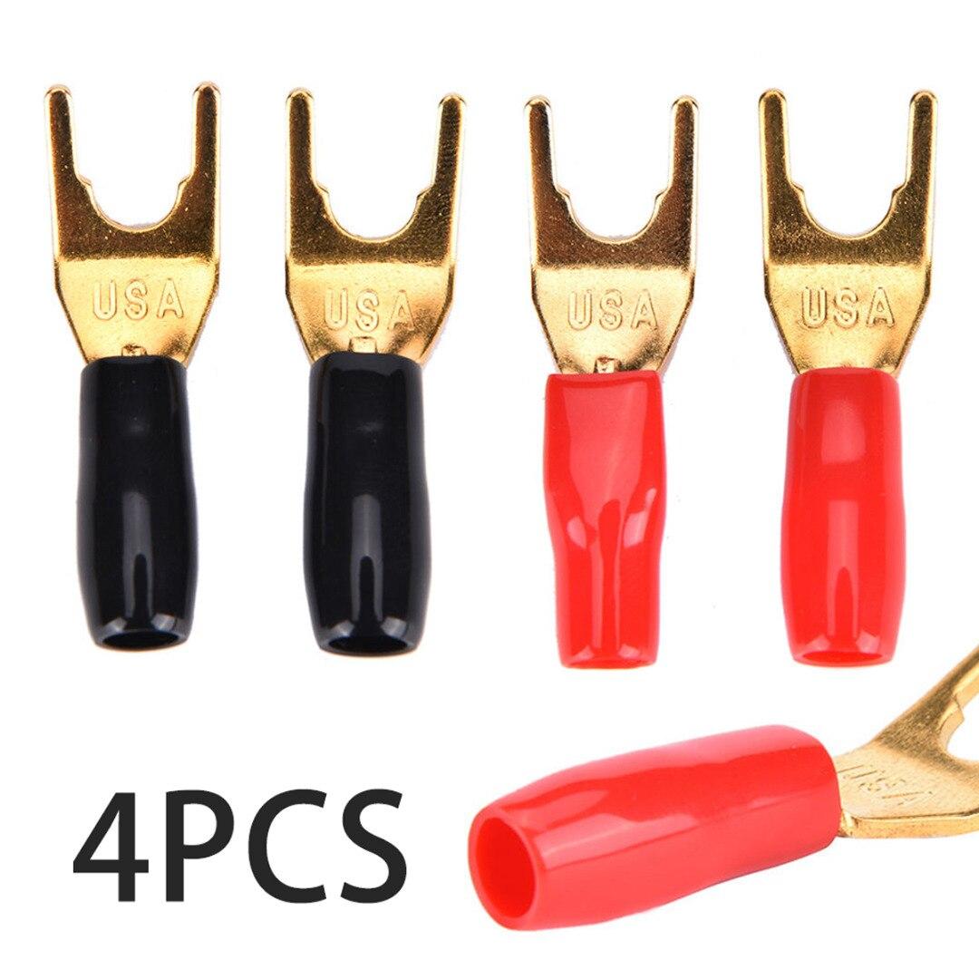 4pcs/lot Gold Plated Spade Fork Y Banana Plug Solderless Fork Speaker Banana Plugs Adapter