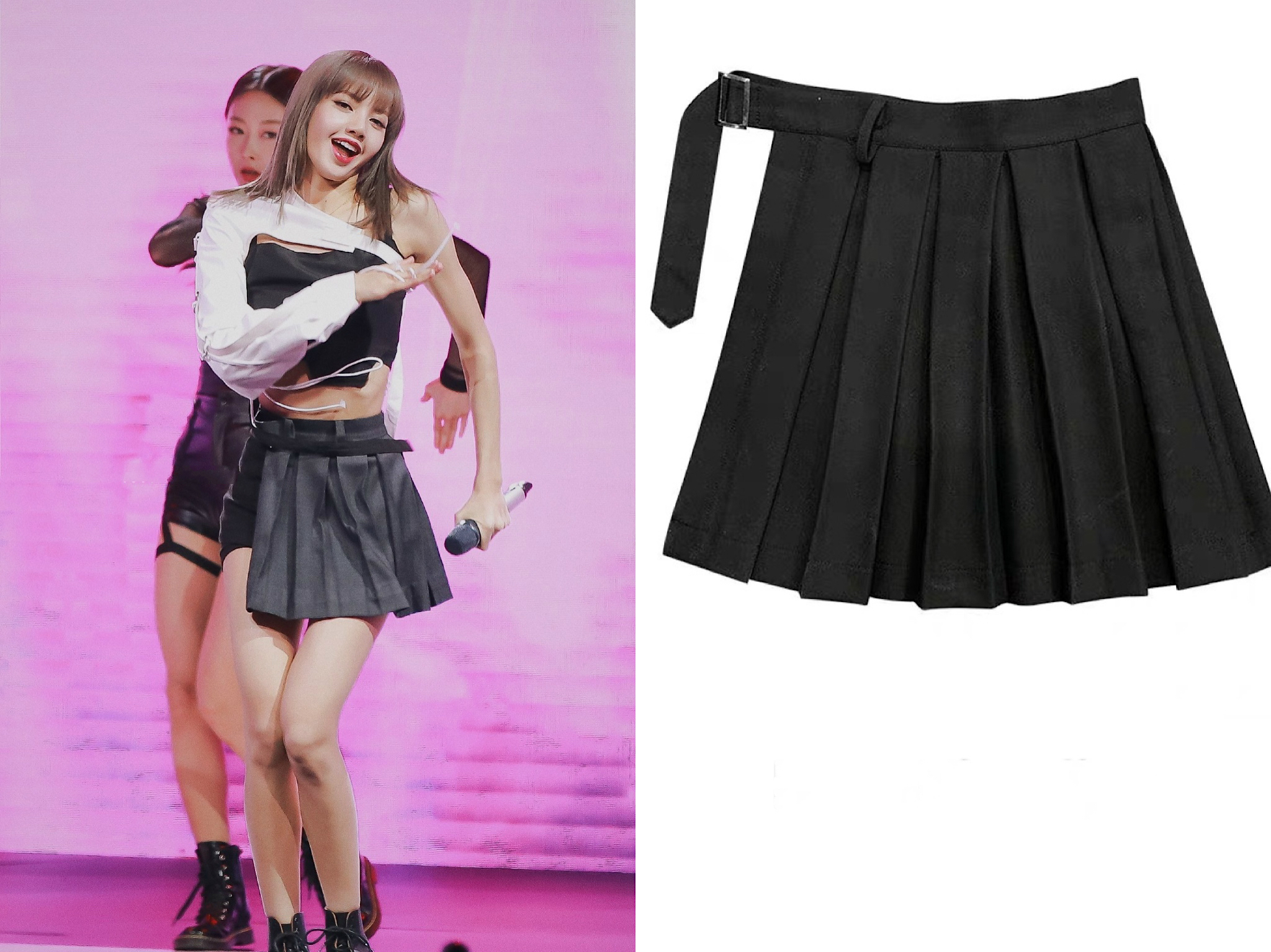 Kpop Blackpink Lisa Same Gothic Wind Split Ends Loose Pleated Skirt Women Korean Black Sexy High Waist Mini Skirt Female Clothes