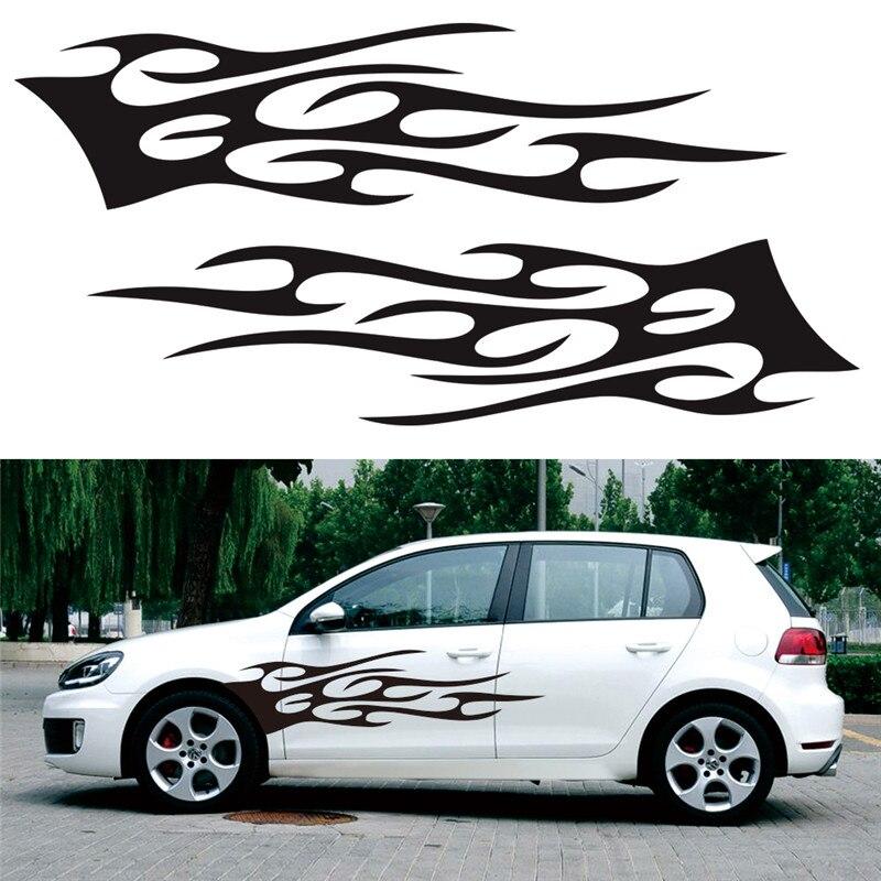 2pcs Flame Totem Car Body Sticker Car Body Racing Side Door Long Stripe Stickers Auto Vinyl Decal Car Accessories
