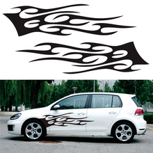 2pcs Flame Totem Car Body Sticker Racing Side Door Long Stripe Stickers Auto Vinyl Decal Accessories