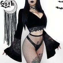 Goth Sexy Vrouwen Crop Top Flare Lange Mouwen Lace Hollow Out Black T shirt Gothic Retro Bodycon Vrouwelijke V hals Tops Elegant top