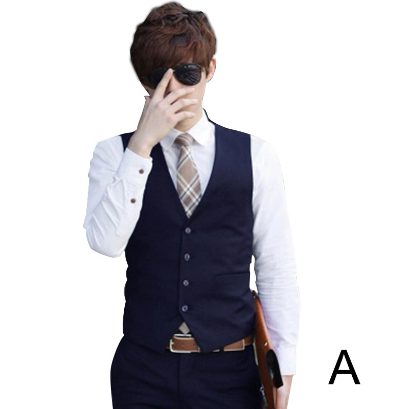 Men Solid Color Waistcoat Slim Fit Single breasted Business Casual Vest for Spring NIN668